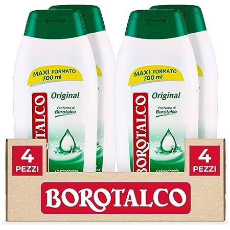 Borotalco, Bagnodoccia Original, Bagnoschiuma Liquido al Profumo di Borotalco, Formula Idratante e Nutriente, Profumo Fresco e Agrumato - 4 Flaconi Maxi Formato da 700 ml