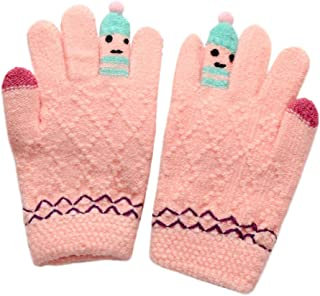 Clearance!! Unisex Girls Boys Warm Magic Stretchy Gloves Cute Thicken Stitching Cartoon Windproof Knitted Snow Mittens