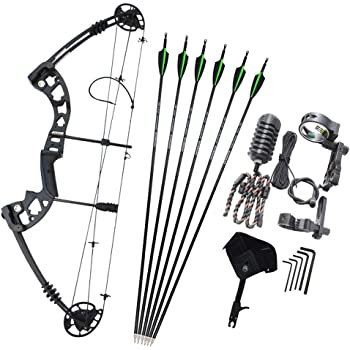 Starter Bow and Arrow 25lb Black Kita Compound With Quiver Arrows /& Guards