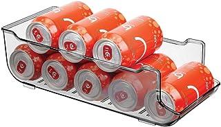 mDesign Cajas de almacenaje para frigorífico y armarios de cocina – Contenedores de plástico con capacidad para 9 latas – Práctico organizador de nevera – gris humo