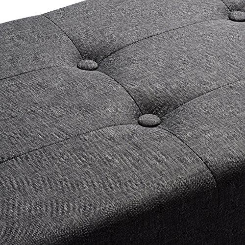 WOLTU Sitzhocker mit Stauraum Sitzbank Faltbar Truhen Aufbewahrungsbox, Deckel Abnehmbar, Gepolsterte Sitzfläche aus Leinen, 110x37,5x38 cm, Dunkelgrau, SH11dgr-1 - 6