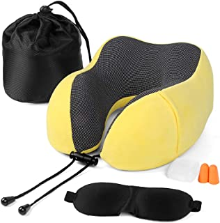 Fvstar Travel Pillow Memory Foam Neck Pillow for Airplane Breathable Neck Support Pillow Comfortable Car U Shape Head Pillow with Sleep Mask & Earplugs Yellow