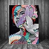 Puzzle 1000 piezas Graffiti art mujeres paz paloma pintura arte moderno pintura puzzle 1000 piezas adultos Rompecabezas de juguete de descompresión intelectual educativo diver50x75cm(20x30inch)