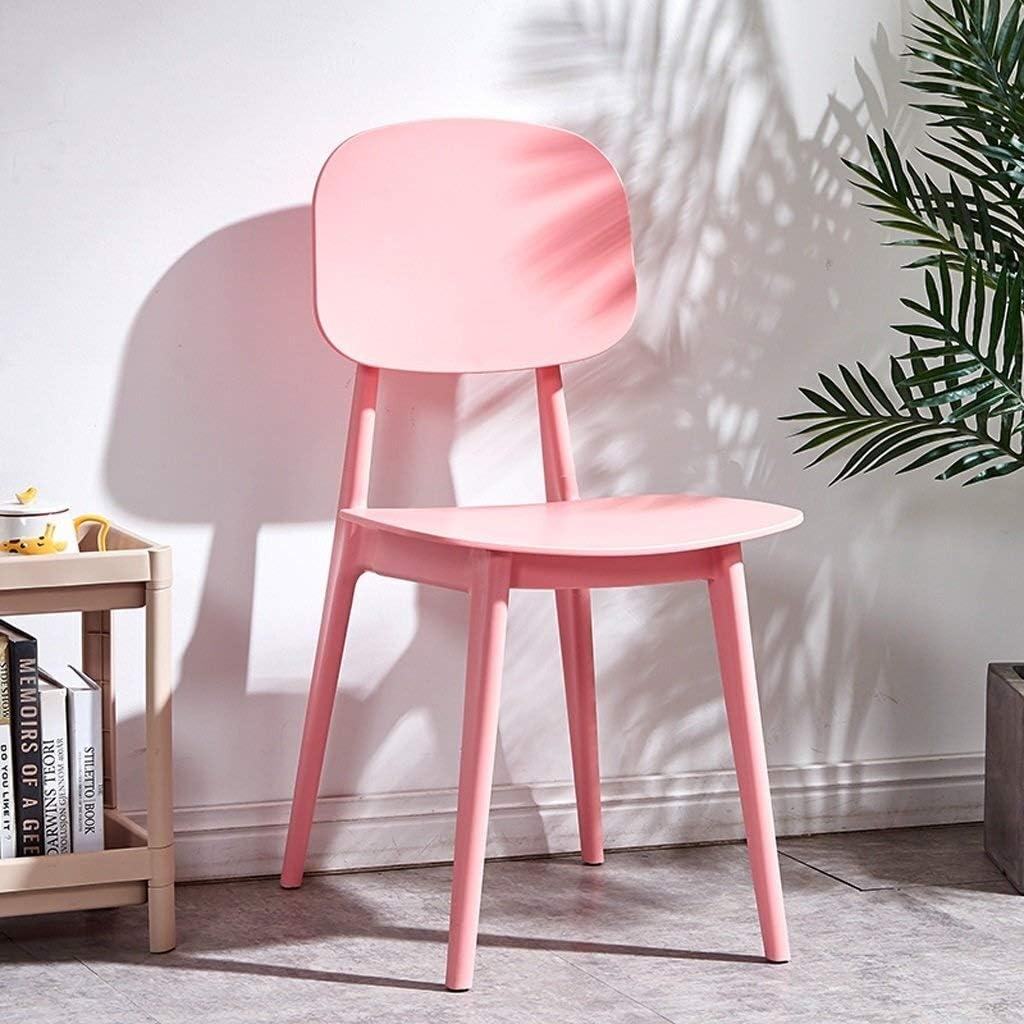 Moderne Simple À Manger Chaise Ménage Dossier Adulte Chaise Salle À Manger Tabouret Chaise Chaise De Bureau PP En Plastique Lounge Chair Meubles (Color : Green) Pink