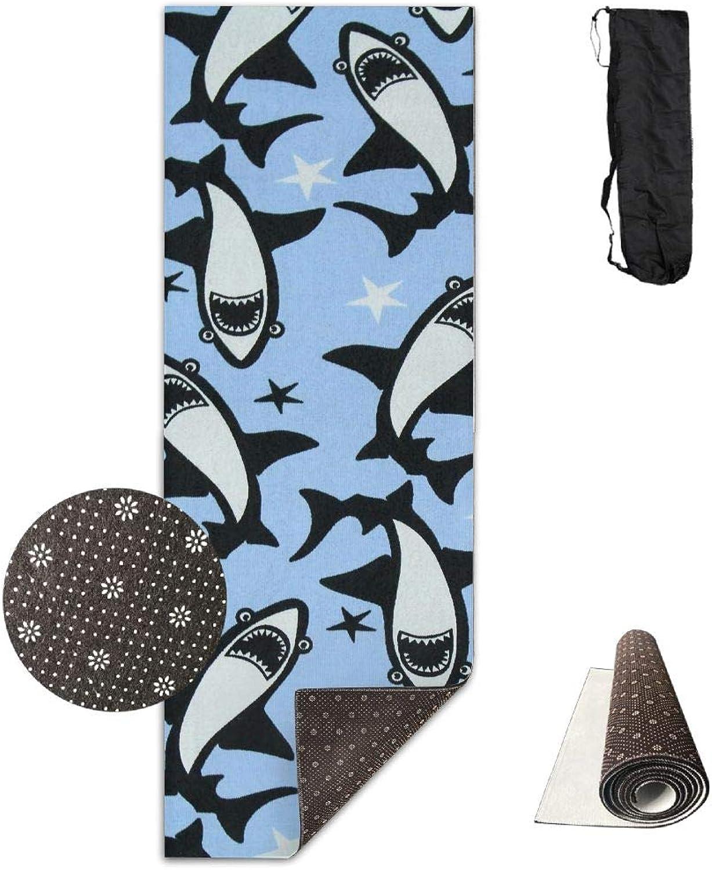 Yoga Mat Non Slip 24  X 71  Exercise Mats Shark Print Premium Fitness Pilates Carrying Strap