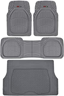Motor Trend 4pc Gray Car Floor Mats Set Rubber Tortoise...