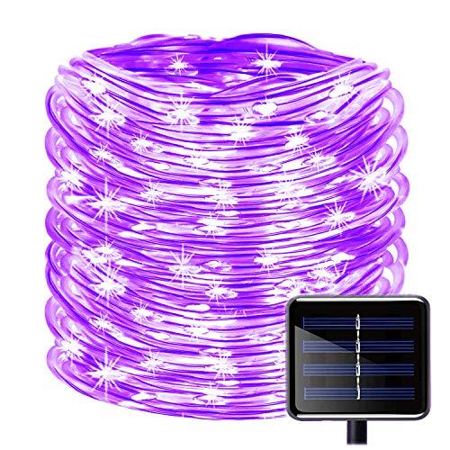 KINGCOO 100LEDs Schlauch Lichterkette, IP55 Wasserdicht 39ft/12m Solarlichterkette Röhrenlicht Seil Kupferdraht Weihnachtsbeleuchtung Lichter für Hochzeit Garden Party Außenlichterkette (Lila)