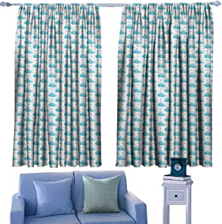Mannwarehouse Whale Novel Curtains Little Fish Figures Squirting Water Hearts Childish Pattern for Baby and Kids 70%-80% Light Shading, 2 Panels,63