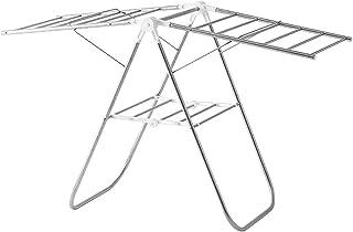 BBZZ Séchoir à linge électrique chauffant avec double support en acier inoxydable (couleur : argent, taille : 120 x 75 cm)