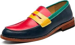 أحذية رجالية عارضة فاخرة مريحة المتسكعون Men's shoes Penny Loafer for Men Round Moc Toe Four Colors Matching Stitching Low...