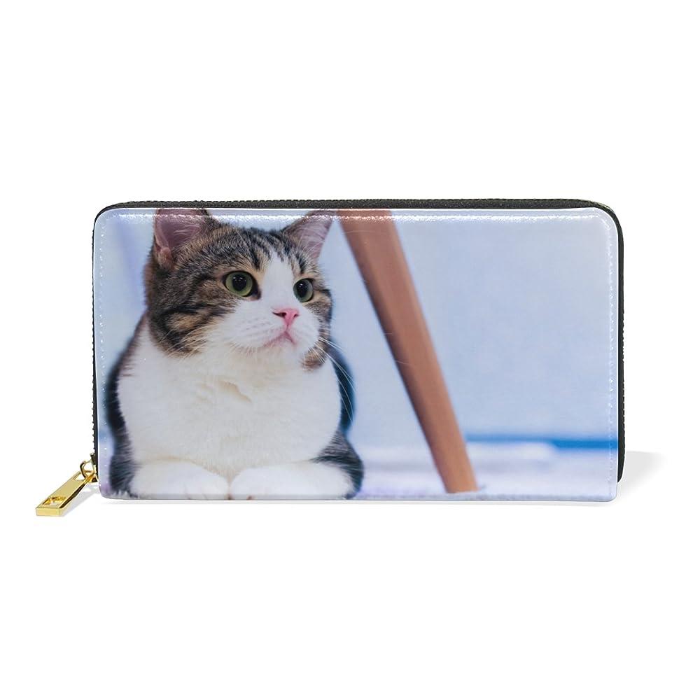 溝公式騒々しい旅立の店 長財布 人気 レディース メンズ 大容量多機能 二つ折り ラウンドファスナー 本革  かわいい猫柄 ウォレット