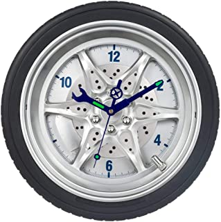 Garage Wall Clocks, 14 Inch Luminous Tire Rim Decorative Clock for Man, Boys, Car Enthusiasts, Silent Non-Ticking Battery Operated Clock for Bedroom, Living Room & Mechanic Shop - Black, Wheel