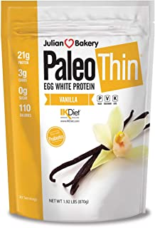 Paleo Thin® Protein Protein Powder Vanilla (Egg White) (1.92 Pound) (Soy Free) w/Monk Fruit (30 Servings)