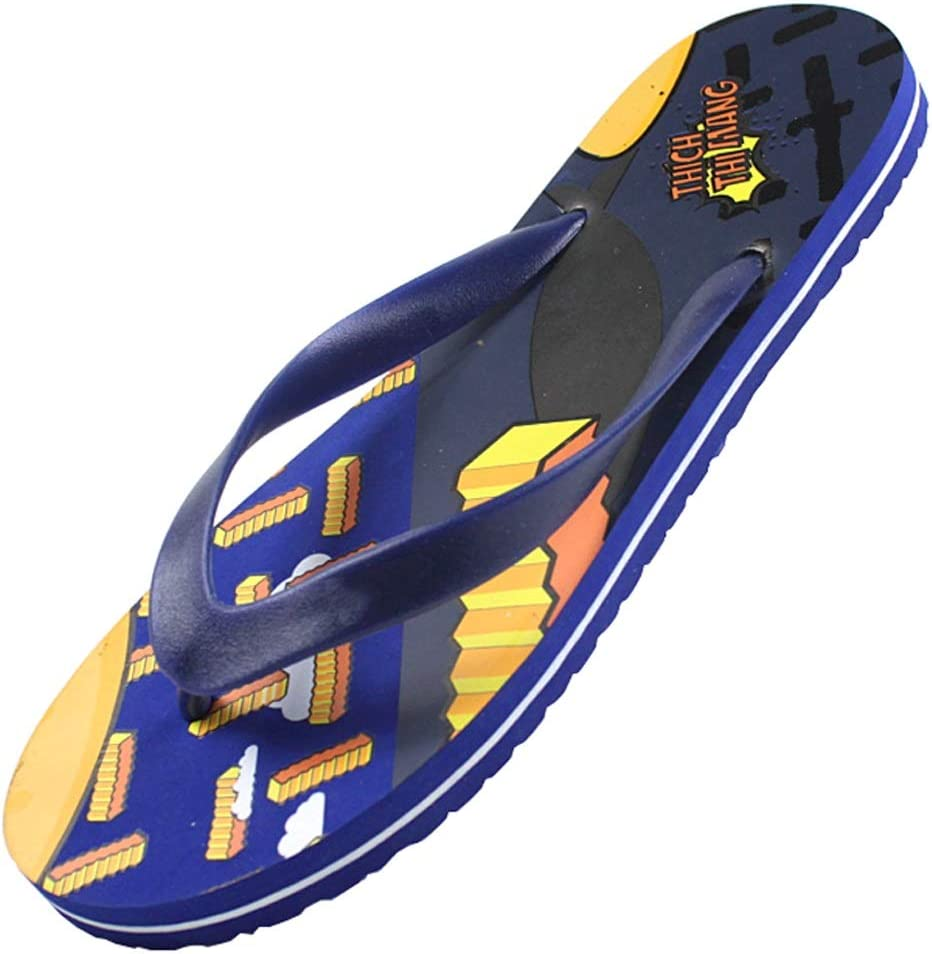 NYKK Shower Shoes Fashion Men's Flip-Flops Beach Shoes Rubber Soles Sandals and Slippers for Beachfront Swimming Pool flip Flop (Color : Blue, Size : 8#)