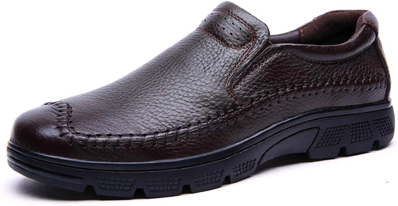 Winter Men's Business Casual shoes Men's Leather Feet Thick Non-Slip Large Size Men's shoes Comfortable Wear-Resistant Non-Slip (color   Brown, Size   38)