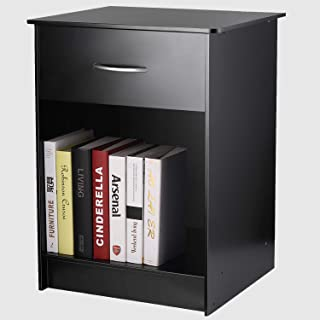 INTEY Modern Black Nightstand/Bedside Table with Drawer and Open Shelf, MDF Tall Bedroom End Table