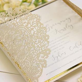 PARTECIPAZIONI matrimonio fai da te elegante SET anniversario fidanzamento compleanno battesimo DIY avorio perlato oro tag...