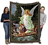 Guardian Angel and Children Crossing Bridge - Lindberg Heilige Schutzengel - Cotton Woven Blanket Throw - Made in The USA (72x54)