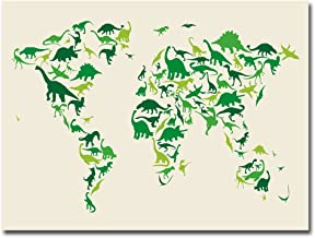 Dinosaur World Map by Michael Tompsett, 24x32-Inch Canvas Wall Art