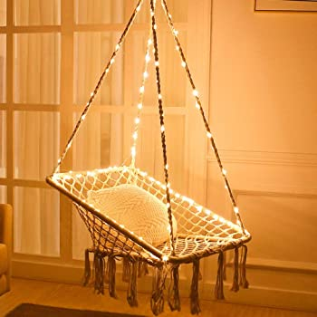 Amazon Com X Cosrack Hammock Chair With Lights Cotton Square Shape For Patio Bedroom Balcony Stand Not Included Garden Outdoor