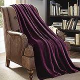 Plush Throw Blanket 50' x 60', JML Plush Soft Fleece Blanket - Solid Color Purple, Lightweight All Season Couch Sofa Blanket