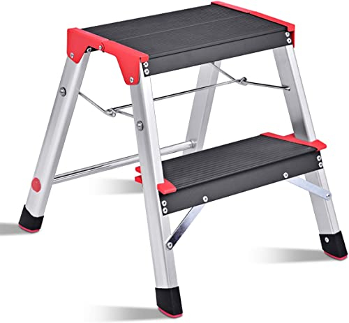 discount Giantex Aluminum Step Ladder, discount Lightweight Folding Non-Slip 2 Foot Aluminum Ladder, 330lbs Capacity Wide Pedal high quality Heavy Duty Step Stool Folding for Household Work Use online