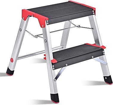 Giantex Aluminum Step Ladder, Lightweight Folding Non-Slip 2 Foot Aluminum Ladder, 330lbs Capacity Wide Pedal Heavy Duty Step