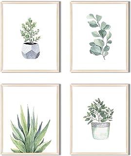 HerZii Prints Botanical Wall Art Prints Set of 4 Wall Pictures - Boho Minimalist Plant Floral Leaves Wall Decor - Kitchen ...