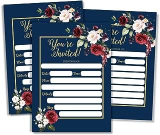 50 Floral Invitations (Large Size 5x7) Marsala Burgundy Navy Bridal or Baby Shower Invite, Birthday Invitation Wedding Rehearsal Dinner Invites, Engagement Bachelorette Reception Anniversary