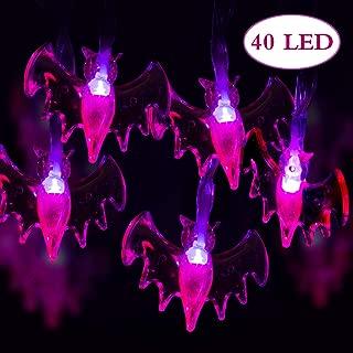GIGALUMI Halloween String Lights, 15ft 40 Purple Bats Lights Halloween Decoration Lights with 8 Modes, Battery Powered