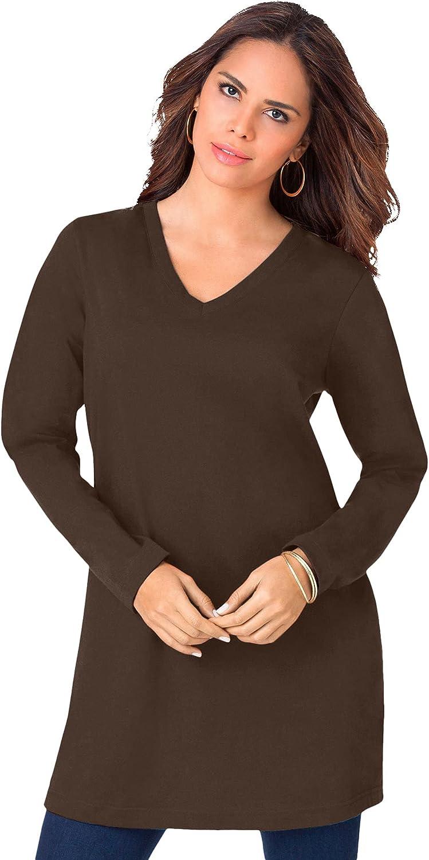 Roaman's Women's Plus Size Long-Sleeve V-Neck Ultimate Tunic Long Shirt