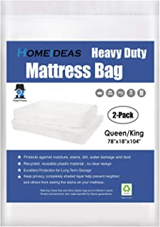 HOMEIDEAS 5 Mil 2-Pack Super Thick Mattress Bags for Moving Queen/King, Not Clear Non-Transparent Mattress Moving Cover, Protecting Mattress and Your Privacy