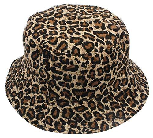 RHBLHQ Gorros de pescador Animales leopardo del verano impresión del sombrero del cubo sombrero de la pesca hombres de las mujeres del sombrero del cubo Anillo Pin sombrero for el sol sombrero del ver