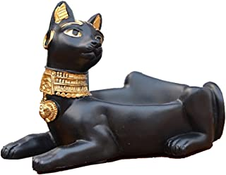 C & S Cigarette Ashtray Ancient Egyptian Bastet Cat Goddess Statue, Ash Holder for Smokers, Tabletop Smoking Ash Tray for Outdoor Indoor Home Office Bar Decor, Creative Gift (Black)