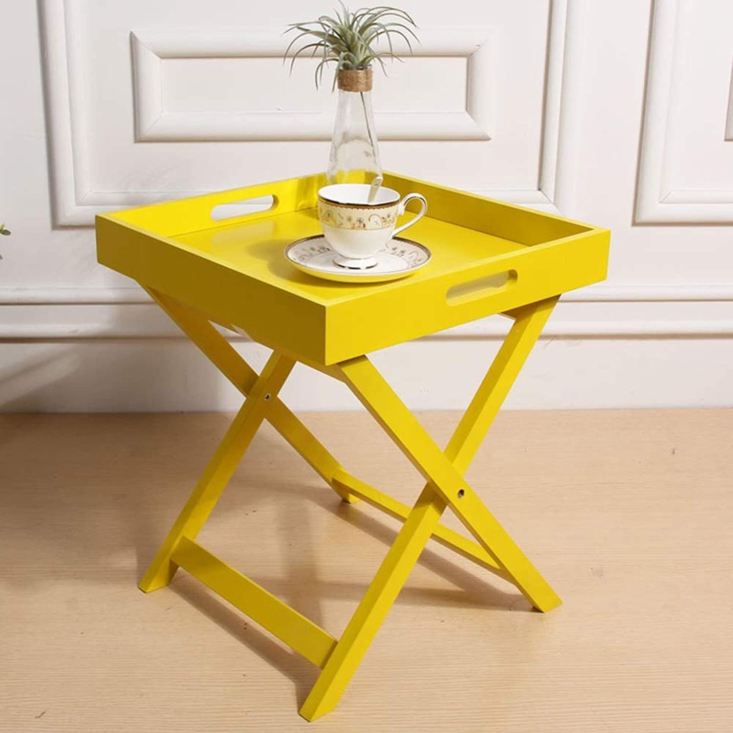 Zhediezhuo Sofa Side Table Mini Mobile Small Coffee Table Coffee Table Bedside Folding Table Folding Table (color   Yellow)