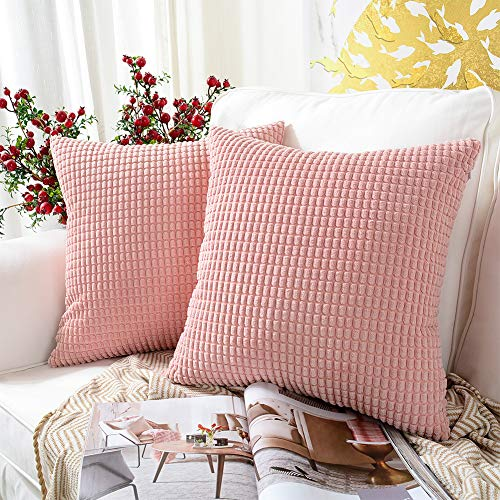 MERNETTE Pack of 2, Corduroy Soft Decorative Square Throw Pillow Cover Cushion Covers Pillowcase, Home Decor Decorations For Sofa Couch Bed Chair 18x18 Inch/45x45 cm (Granules Soft Pink)