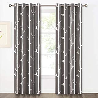 KGORGE Natural Patterned Blackout Curtains - 95 Length Minimalist Bird on The Tree Printed Draperies with Grommet Top for Dinning Room/Villa/Kids Room Decortion (Grey, 2 Panels)