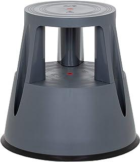 hjh OFFICE 830001 taburete escalera TIO-M I plástico gris oscuro taburete con ruedas cocina hogar oficina