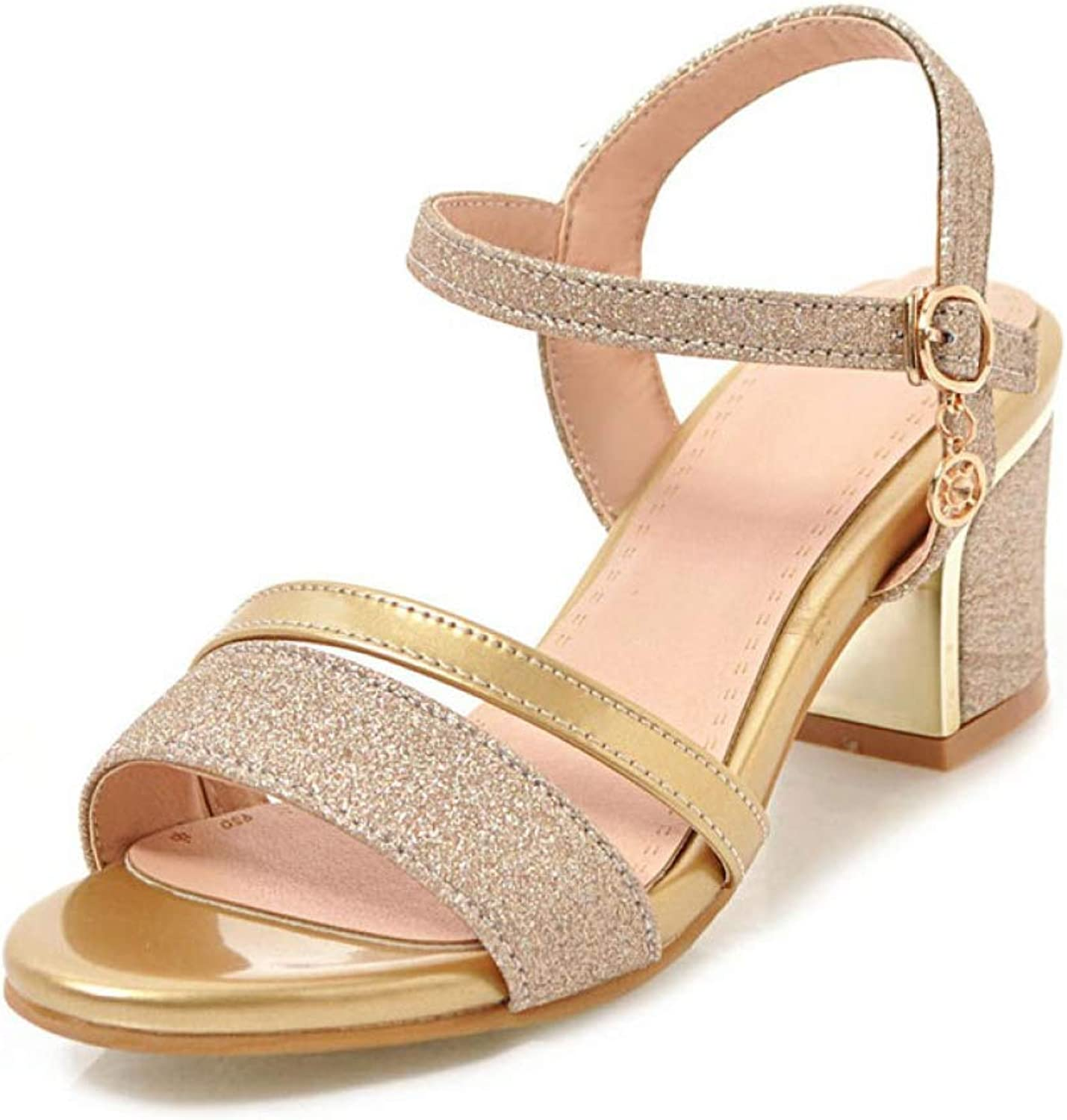T-JULY Women's Sandal Ladies Open Toe Slingback Sequined Patent Leather Buckle High Heel Bling Party Dress shoes for Summer