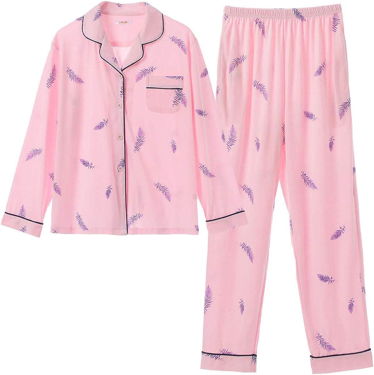 GOSO Pijama para niñas de 8 a 14 años, Pijama con Botones para Adolescentes, niñas, Pijamas de Manga Larga y Pantalones Largos