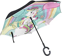 Reverse Umbrella Rainbow Magic Unicorn Balloon Clouds Windproof Double Layer Inverted Umbrella Anti-UV Protection with C-Shaped Handle for Car Outdoor Use