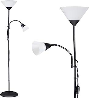 Monzana Lámpara de pie 2 focos separados luz de lectura y de techo Negro brazo de lectura ajustable interior 28x175 cm