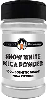 Mica Powder - 3.5 Ounces / 100 Grams [Huge x3-5 The Size of Our COMPETITORS] Cosmetic Grade – True Colors – Beautiful Mica for Slime, Soap Making, Bath Bombs, Make-up, Nails (Snow White)