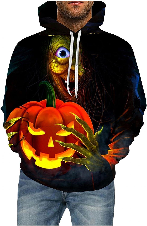 LEIYAN Halloween Mens Hooded Pullover Casual Long Sleeve Skull Printed Graphic Sweatshirt with Kangaroo Pockets