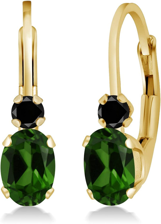 0.97 Ct Oval Green Chrome Diopside Black Diamond 14K Yellow gold Earrings