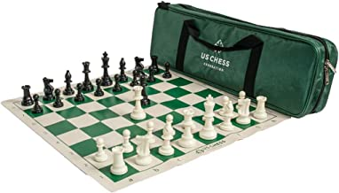 US Chess Federation Supreme Triple Weighted Chess Set Combo - Green