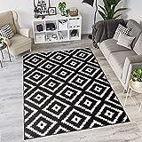 Tapiso Laila Alfombra de Salón Dormitorio Cuarto Juvenil Diseño Moderno Negro Blanco Geométrico Marroquí Fina 120 x 170 cm