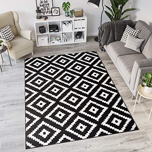 TAPISO Laila Teppich Modern Kurzflor Schwarz Weiß Geometrisch Marokkanisch Karo Design Wohnzimmer Schlafzimmer 120 x 170 cm
