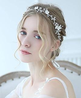 FXmimior - Tiara per capelli da sposa, con motivo floreale e strass, accessorio per capelli da sera