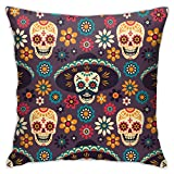 Yaateeh Skull Flowers Mexico Dia De Los Muertos Throw Pillow Covers Decorative 18x18 Inch Pillowcase Square Cushion Cases for Home Sofa Bedroom Livingroom